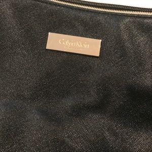 Calvin Klein Black tote purse, white straps